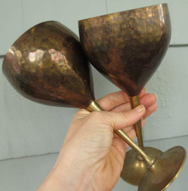 Vintage Brass Pagan Handfasting Chalices Wedding Goblets