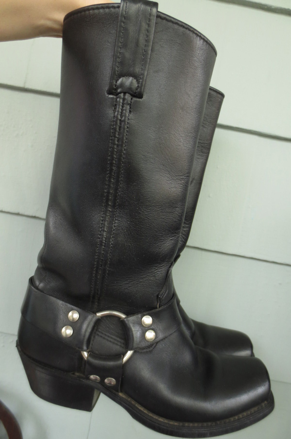 Vintage Ladies Quality Black Leather Harness Boots 6.5