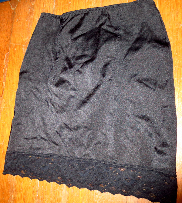 Vintage Black Slip Shaper Girdle Skirt Built in Panty S