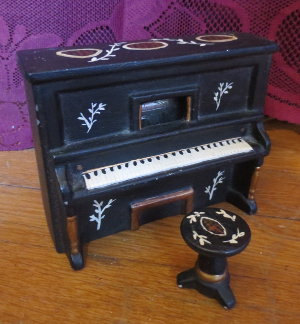 Vintage Handmade Hand Painted Piano Music Box w/Stool