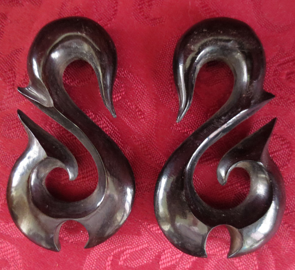 Black Horn Tribal Carved Ear Hangers Plugs 9/16