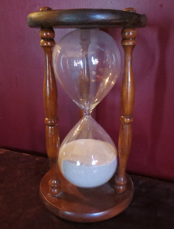 Vintage Large Wood Glass Hourglass Sandtimer Decoration