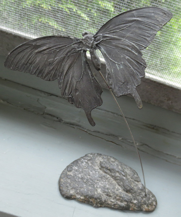 Vintage Unusual Hudson Pewter Flying Butterfly Statue