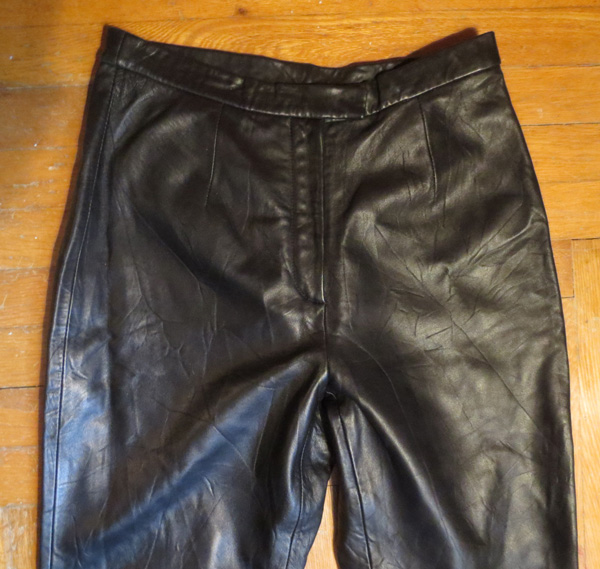 Vintage Ladies Quality Black Leather Pants Size 10