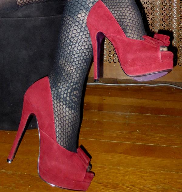 PinUp Red Suede Peep Toe Bow Platform Heels