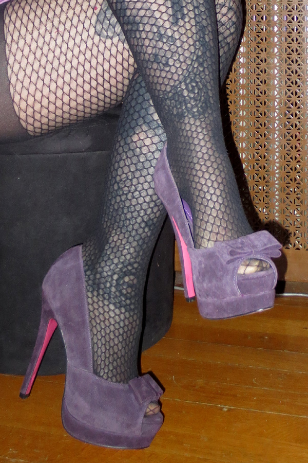 PinUp Purple Suede Peep Toe Bow Platform Heels