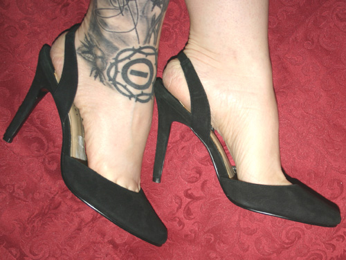 Vintage Black Genuine Suede Leather Slingback Heels 6