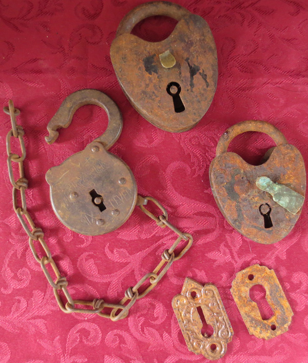 Antique Steampunk Lot of Iron Padlocks and Keyplates