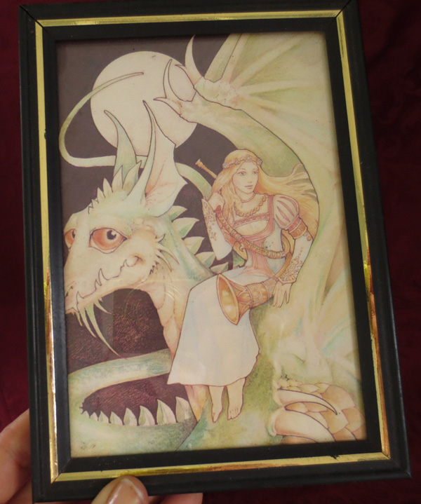 Vintage Print Full Moon Dragon with Blonde Haired Maiden