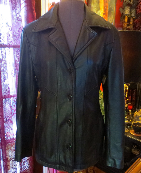 Vintage Ladies Black Leather Fitted Jacket Small Medium