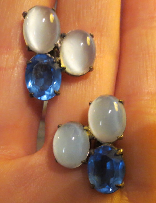 Vintage Sterling Silver Chalcedony Opal Sapphire Earrings