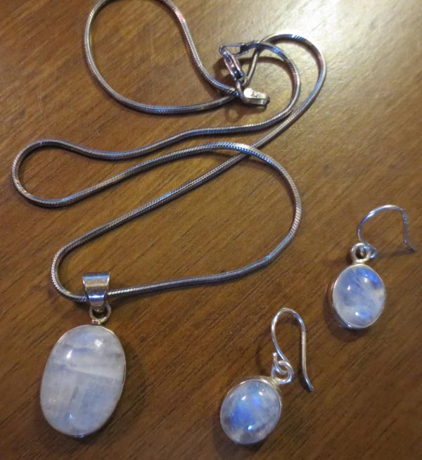 Vintage Rainbow Moonstone Sterling Silver Pendant Earrings Set