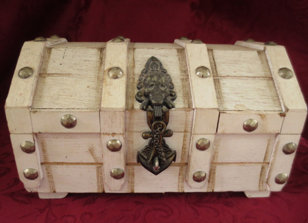 Vintage Gothic Pirate Skull Steampunk Wood Jewelry Box