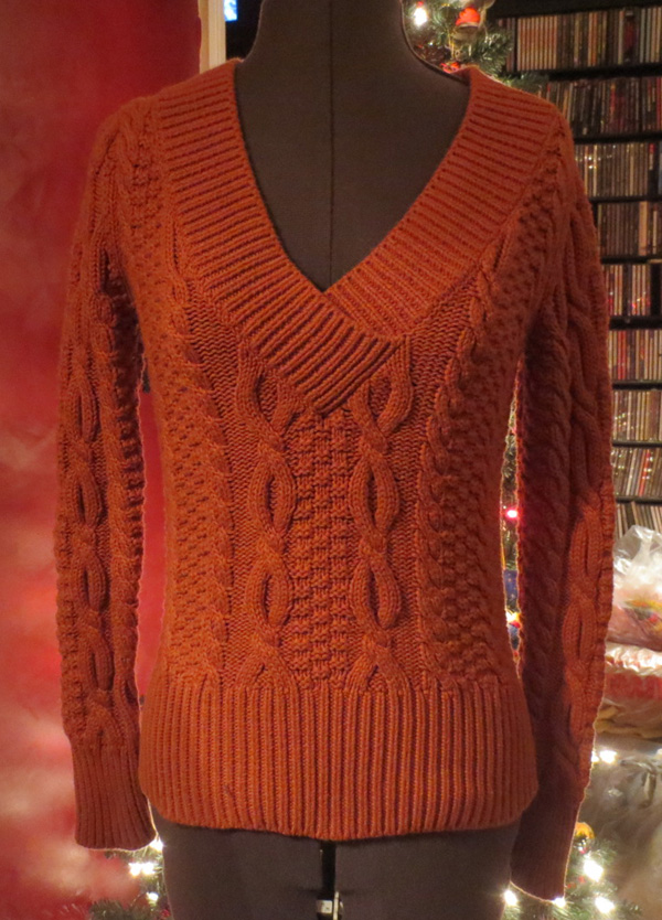 Ladies Pumpkin Orange Fitted V Neck Cotton Sweater S