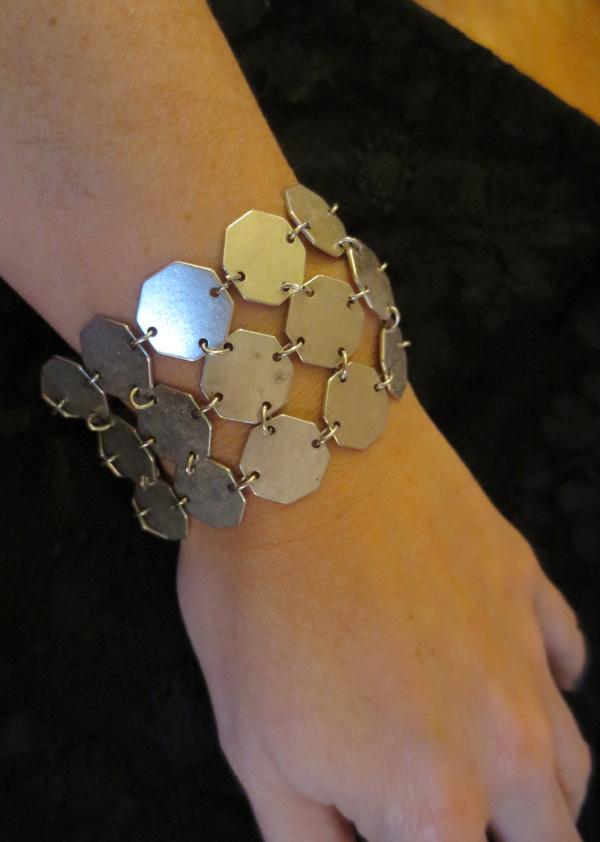 Vintage MOD 1960s Silvertone Geometric Link Bracelet