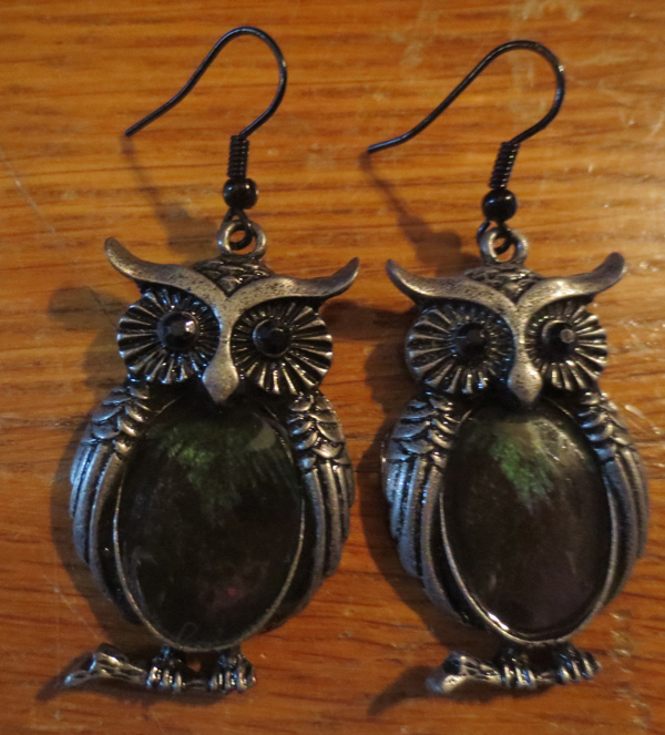Large Owl Feather Earrings Gunmetal Finish