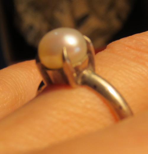 Vintage Sterling Silver Prong Set Pearl Ring 5 1/4