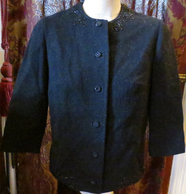 1960s Peerless Pure Wool Black Cardigan Jacket Med