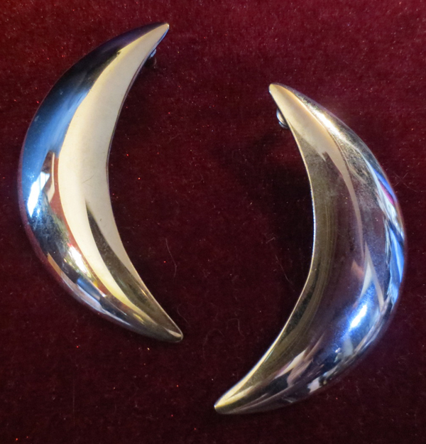 Vintage Large Silver Crescent Moon Earrings