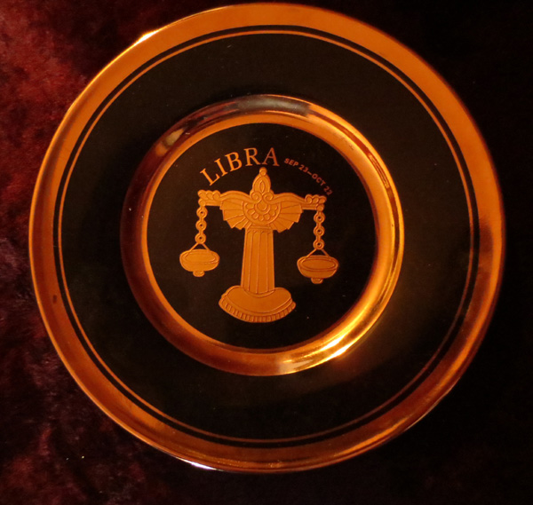 Vintage Astrology Libra Black and Gold Decorative Plate