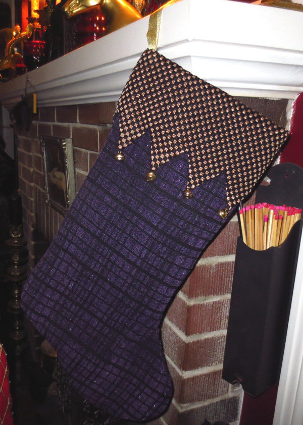 Vintage Purple Gold Plaid Christmas Stocking with Bells