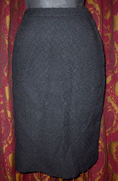 Vintage 1960s Gorgeous Black Pencil Skirt Metal Zipper