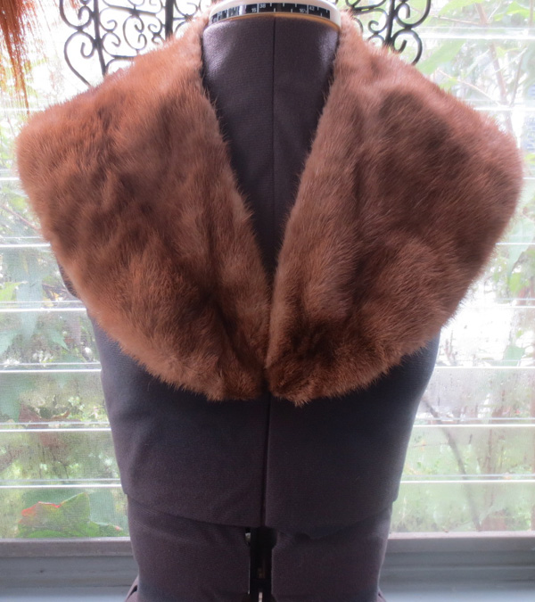 Vintage 1940s Brown Genuine Mink Fur Collar Piece