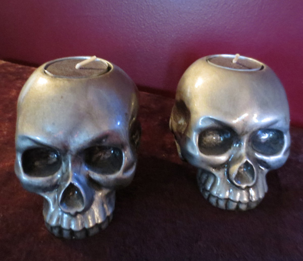 Vintage Pair of Silver Gothic Skull Candle Holders
