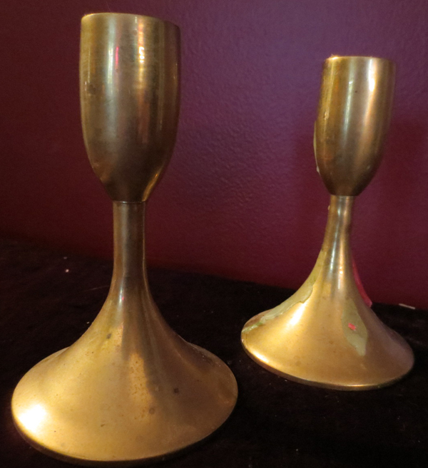 Vintage Pair Solid Brass Church Altar Candle Holders