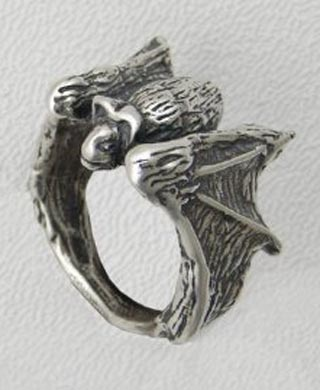 Sterling Silver Gothic Vampire Bat Ring