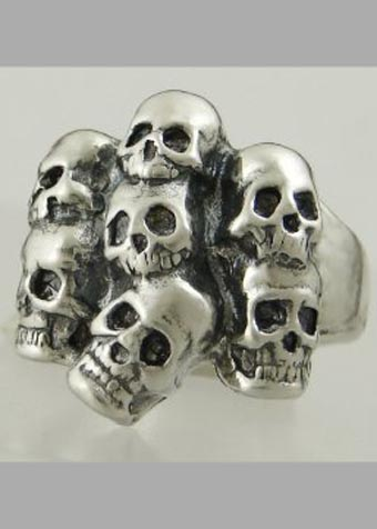 Sterling Silver Gothic Pile of Skulls Ring
