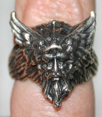 Sterling Silver Greenman Bacchus Ring