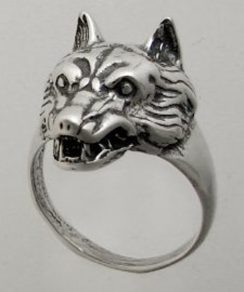Sterling Silver Gothic Wolf Ring