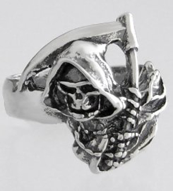 Sterling Silver Gothic Grim Reaper Ring