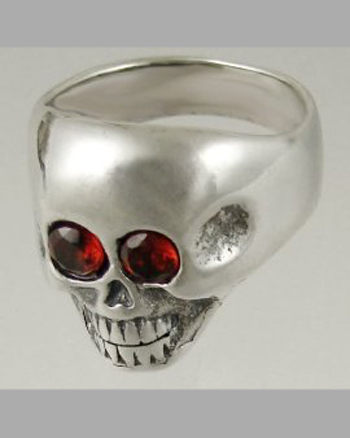 Sterling Silver Gothic Skull Ring with Jewel Eyes