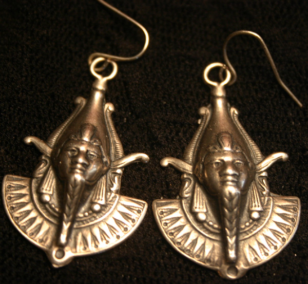 Vintage Sterling Silver Egyptian God Thutmose Earrings