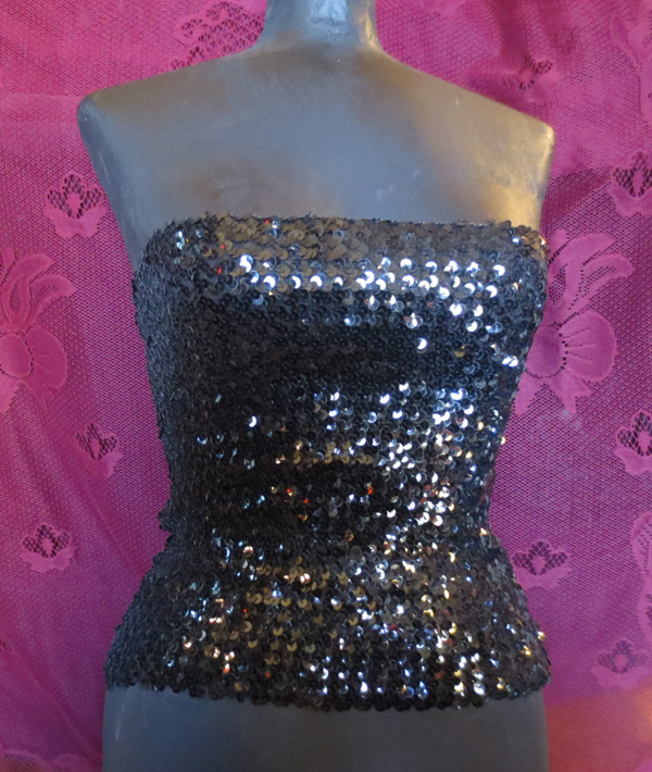 Vintage Black Sequin Tube Top Disco Belly Dancer Showgirl