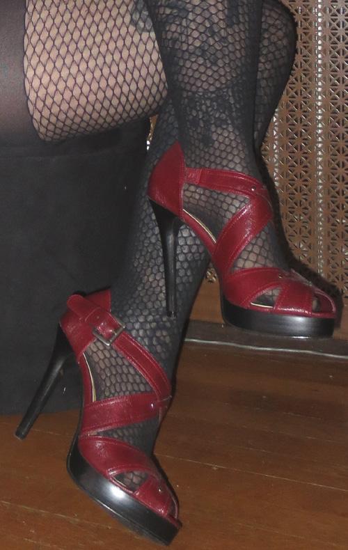 Dark Red Strappy Peep Toe High Heels Pumps 6.5