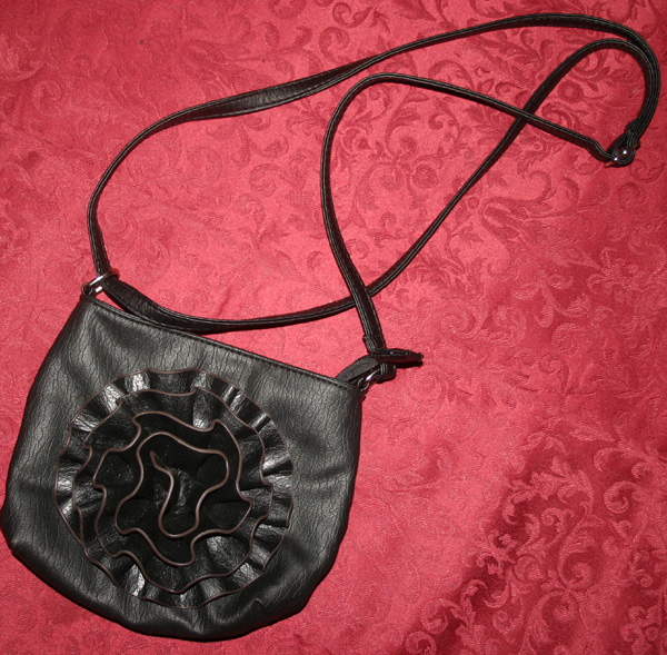 Vintage Pin Up Black Ruffle Flower Leather Like Handbag