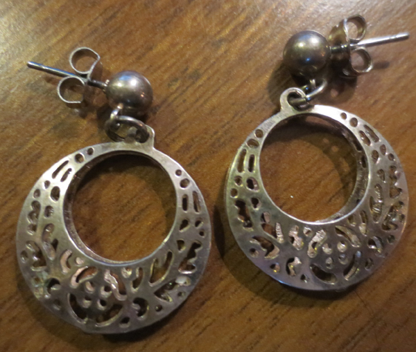 Vintage Sterling Silver Filigree Hoop Dangle Earrings