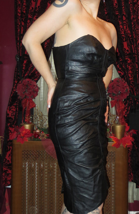 Vintage Black Leather Bustier Dominatrix Dress XS Small