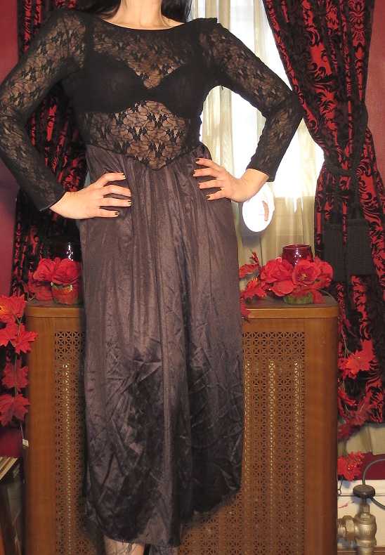 Vintage NOS Pin Up Lingerie Black Long Lace Nightgown