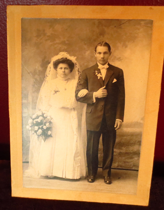 Antique 1910 1920 Wedding Photograph Petite Couple