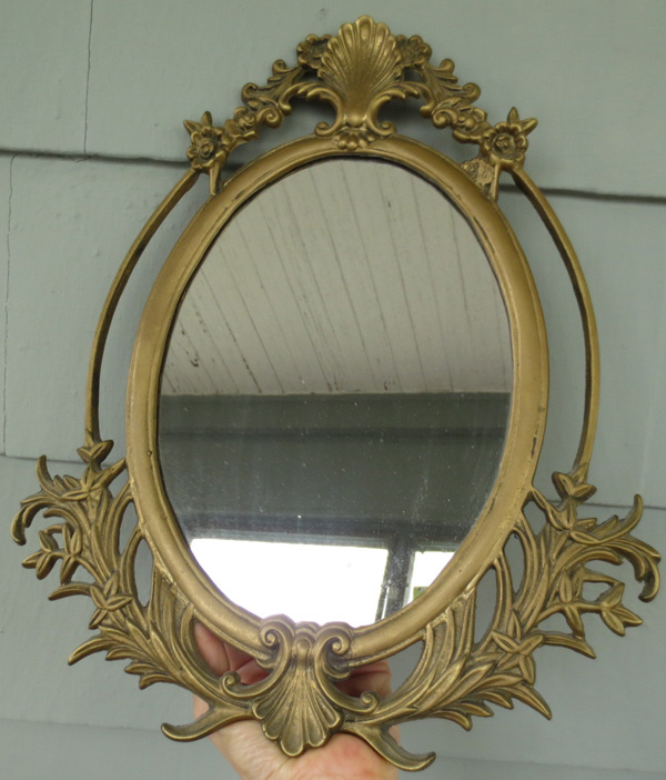 Vintage Victorian Large Brass Iron Oval Ornate Mirror