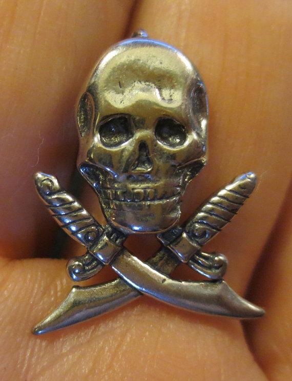 Sterling Silver Pirate Skull Dagger Pendant