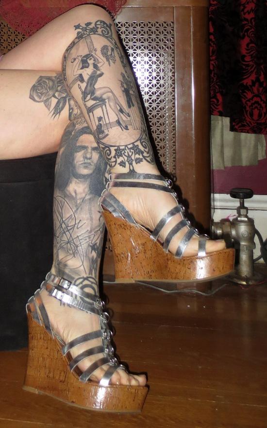 Metallic Silver Leather Gladiator Platform Wedge Sandals 6.5
