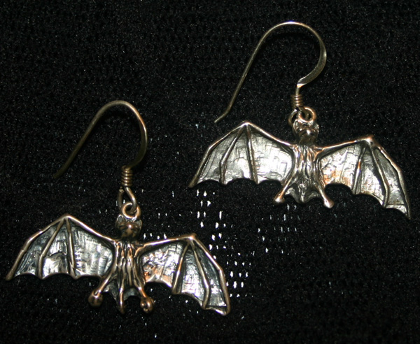 Vintage Sterling Silver Gothic Vampire Bat Earrings