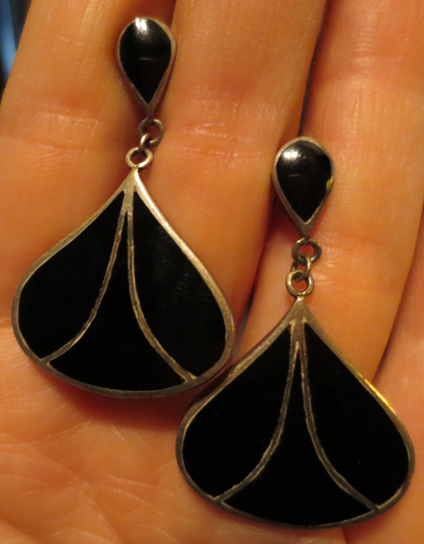 Vintage Silver and Black Onyx Teardrop Earrings