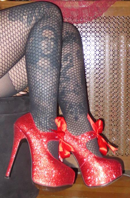 Red Glitter 6 Inch Burlesque Platform Heels Size 6
