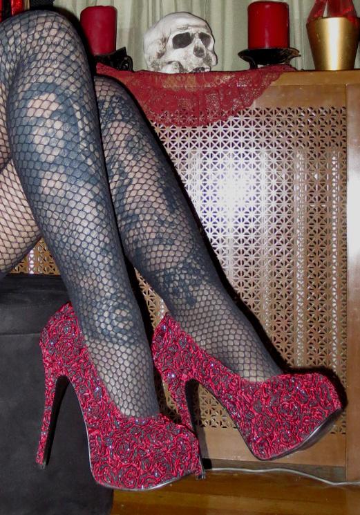 6 Inch Burlesque Red Rose Platform High Heels Sz 7